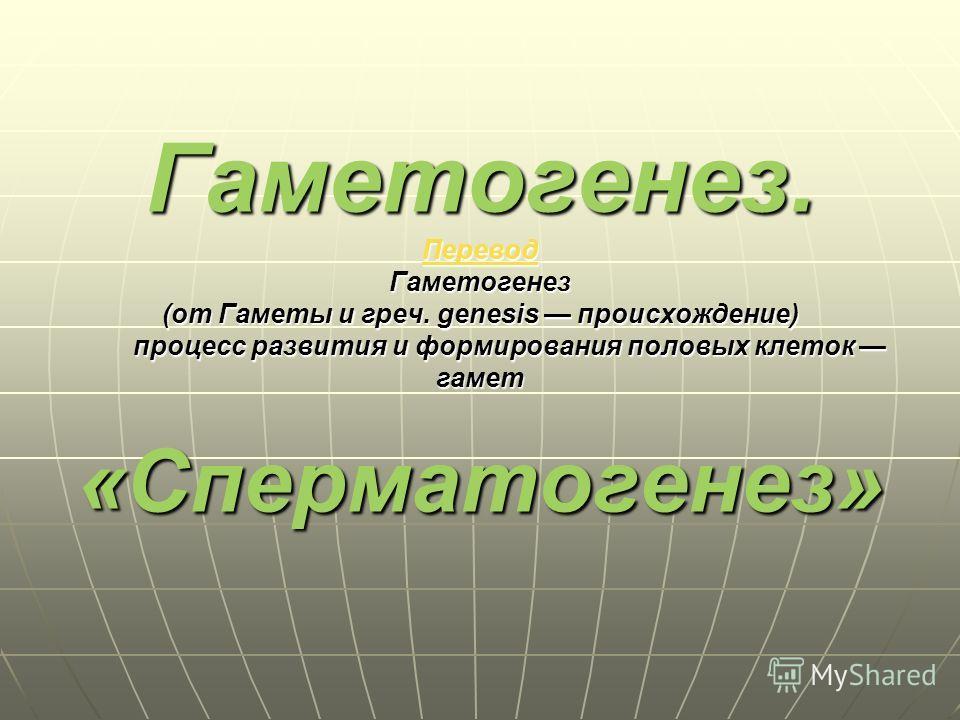 Гаметогенез. Перевод Гаметогенез (от Гаметы и греч. genesis происхождение) процесс развития и формирования половых клеток гамет «Сперматогенез» Перевод