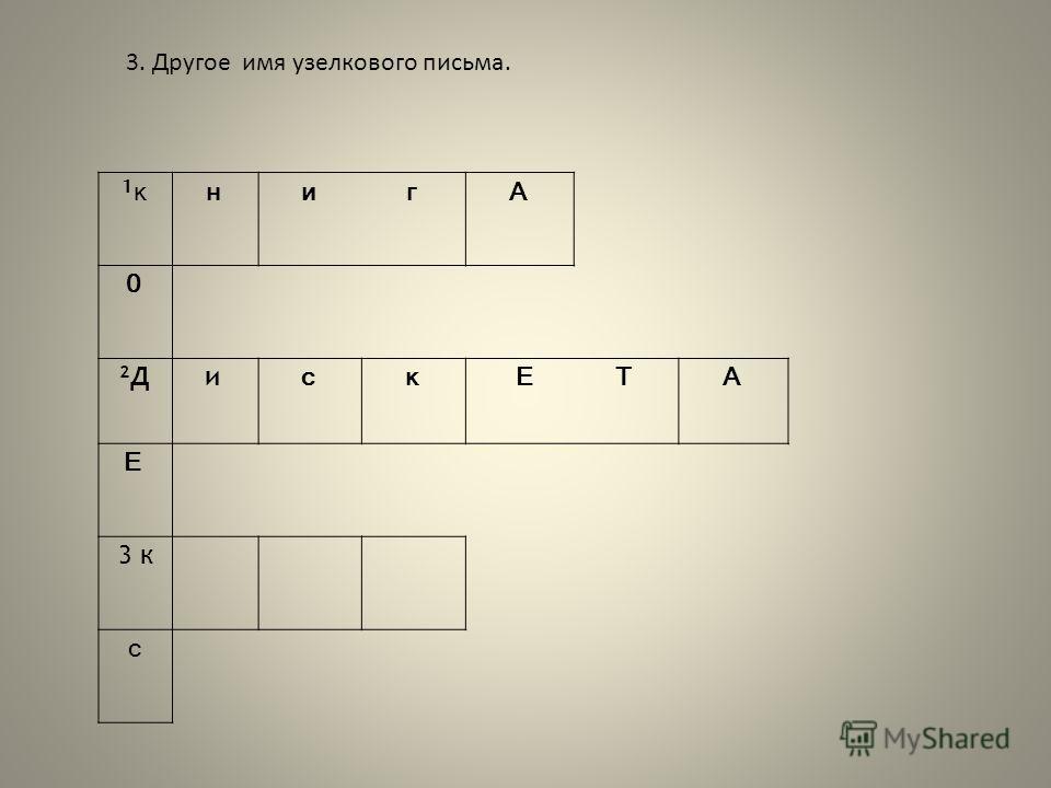 3. Другое имя узелкового письма. 1к1книгА 0 2Д2Ди скЕТА Е 3 к с