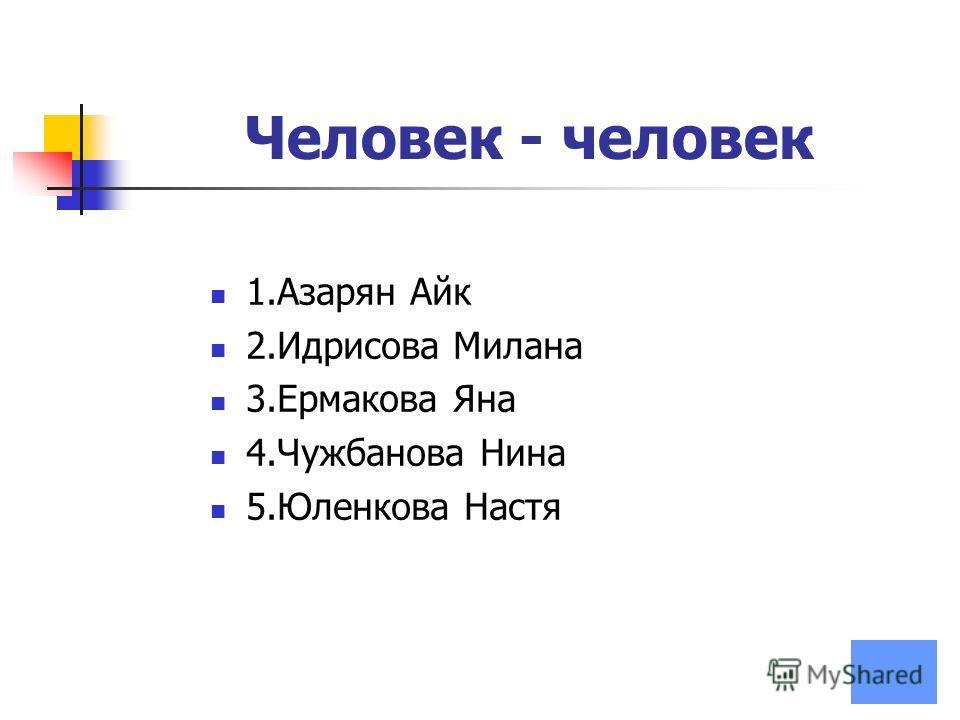 Человек - человек 1.Азарян Айк 2.Идрисова Милана 3.Ермакова Яна 4.Чужбанова Нина 5.Юленкова Настя