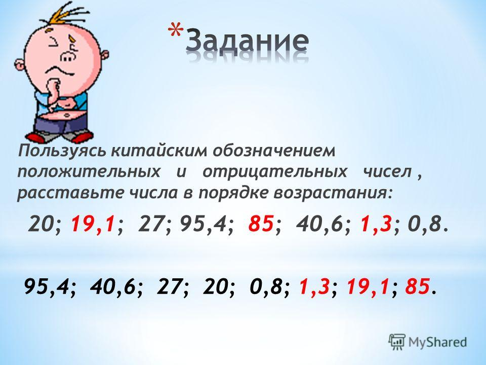 Пользуясь китайским обозначением положительных и отрицательных чисел, расставьте числа в порядке возрастания: 20; 19,1; 27; 95,4; 85; 40,6; 1,3; 0,8. 95,4; 40,6; 27; 20; 0,8; 1,3; 19,1; 85.
