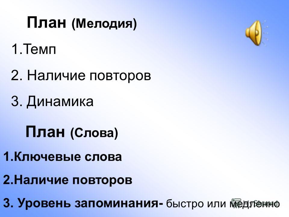 План (Мелодия) 1.Темп 2. Наличие повторов 3. Динамика План (Слова) 1.Ключевые слова 2.Наличие повторов 3. Уровень запоминания- быстро или медленно