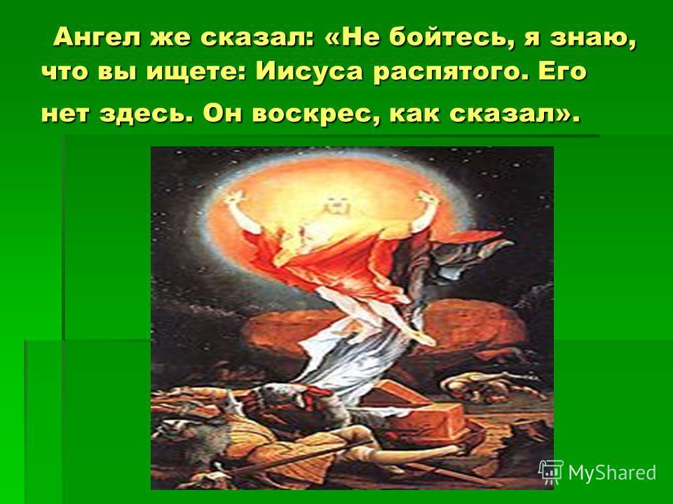 Ангел же сказал: «Не бойтесь, я знаю, что вы ищете: Иисуса распятого. Его нет здесь. Он воскрес, как сказал». Ангел же сказал: «Не бойтесь, я знаю, что вы ищете: Иисуса распятого. Его нет здесь. Он воскрес, как сказал».