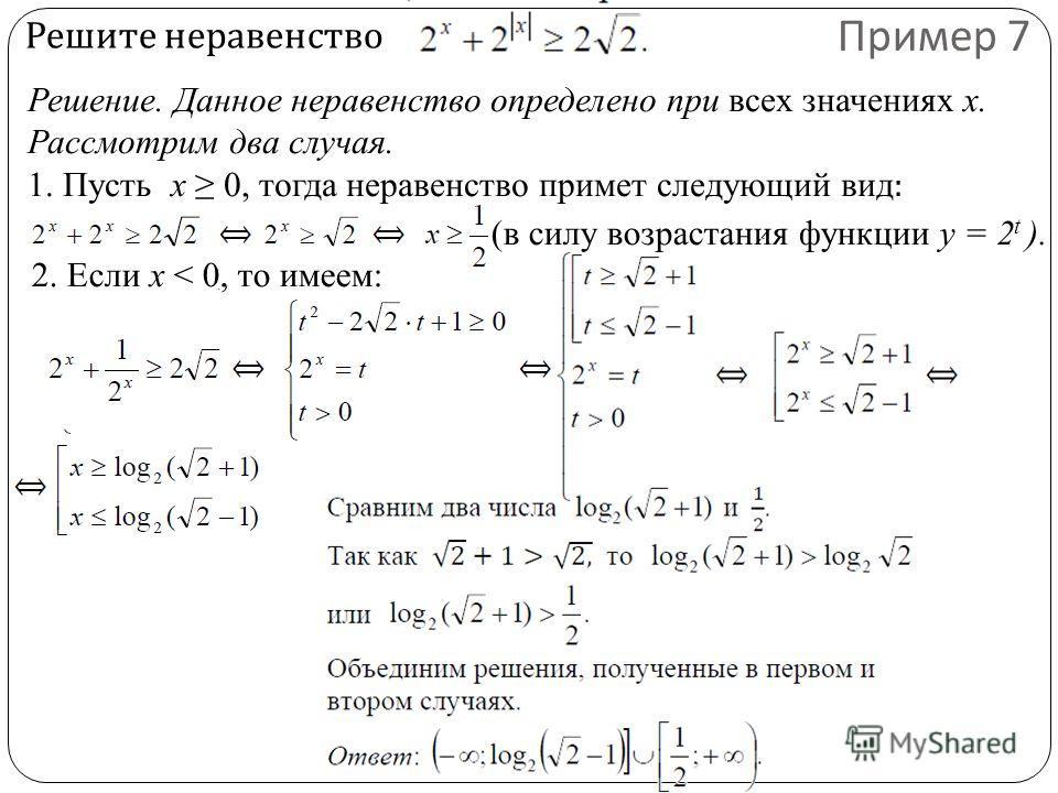 Решите неравенство Пример 7 Решение. Данное неравенство определено при всех значениях х. Рассмотрим два случая. 1. Пусть x 0, тогда неравенство примет следующий вид : (в силу возрастания функции y = 2 t ). 2. Если x < 0, то имеем: