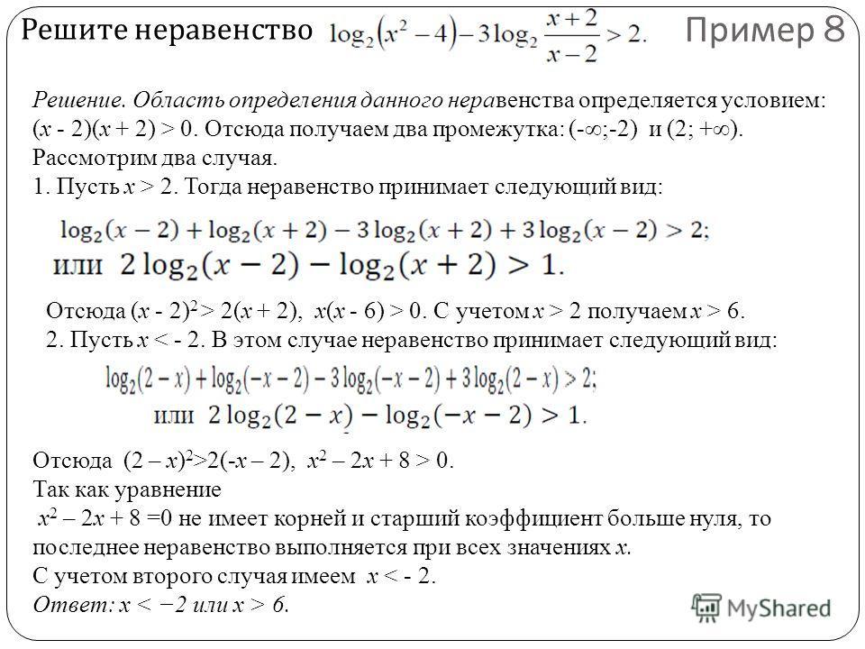 Решите неравенство Пример 8 Решение. Область определения данного неравенства определяется условием: (x - 2)(x + 2) > 0. Отсюда получаем два промежутка: (-;-2) и (2; +). Рассмотрим два случая. 1. Пусть x > 2. Тогда неравенство принимает следующий вид: