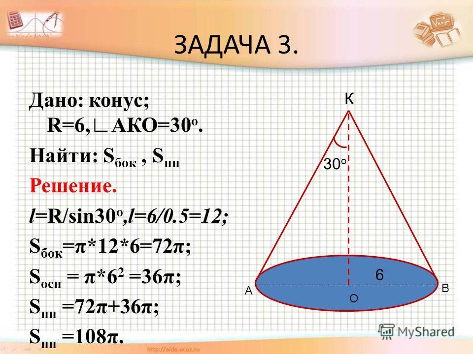 ЗАДАЧА 3. Дано: конус; R=6,АКО=30 о. Найти: S бок, S пп Решение. l=R/sin30 о,l=6/0.5=12; S бок =π*12*6=72π; S осн = π*6 2 =36π; S пп =72π+36π; S пп =108π. 30 о К А В О 6