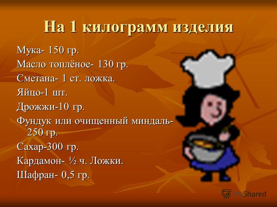 На 1 килограмм изделия Мука- 150 гр. Масло топлёное- 130 гр. Сметана- 1 ст. ложка. Яйцо-1 шт. Дрожжи-10 гр. Фундук или очищенный миндаль- 250 гр. Сахар-300 гр. Кардамон- ½ ч. Ложки. Шафран- 0,5 гр.