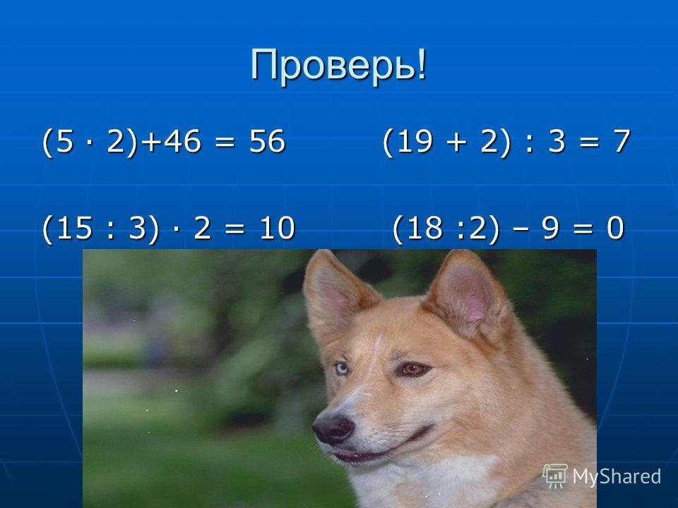 Проверь! (5 2)+46 = 56 (19 + 2) : 3 = 7 (15 : 3) 2 = 10 (18 :2) – 9 = 0