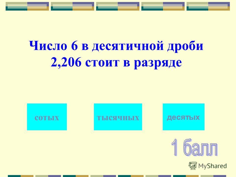Число 6 в десятичной дроби 2,206 стоит в разряде тысячныхсотых десятых