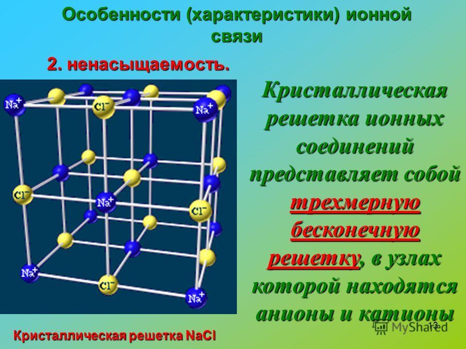 13 Особенности (характеристики) ионной связи 2. ненасыщаемость. Кристаллическая решетка ионных соединений представляет собой трехмерную бесконечную решетку, в узлах которой находятся анионы и катионы Кристаллическая решетка NaCl