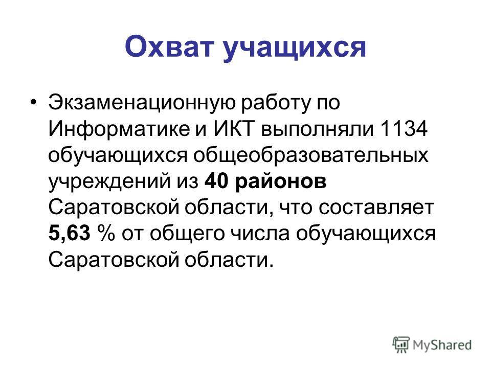 Охват учащихся Экзаменационную работу по Информатике и ИКТ выполняли 1134 обучающихся общеобразовательных учреждений из 40 районов Саратовской области, что составляет 5,63 % от общего числа обучающихся Саратовской области.