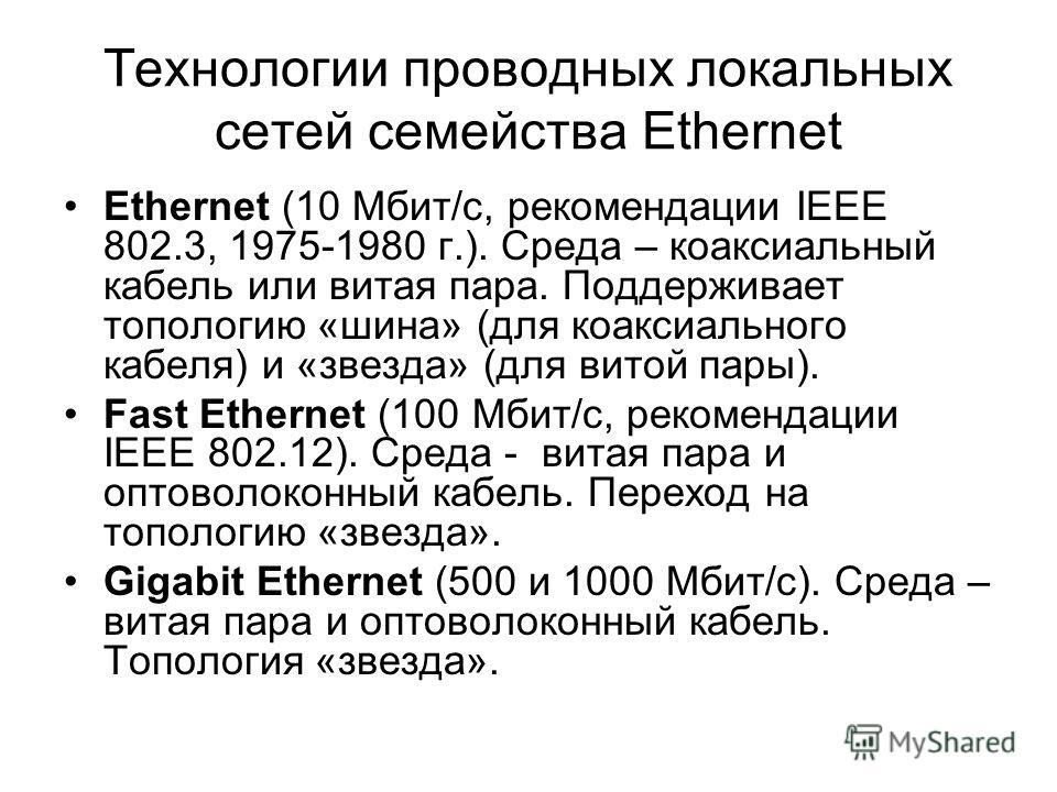 Технологии проводных локальных сетей семейства Ethernet Ethernet (10 Мбит/с, рекомендации IEEE 802.3, 1975-1980 г.). Среда – коаксиальный кабель или витая пара. Поддерживает топологию «шина» (для коаксиального кабеля) и «звезда» (для витой пары). Fas