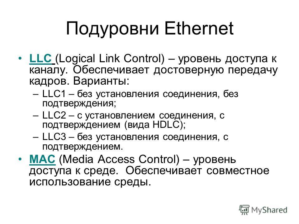 Подуровни Ethernet LLC (Logical Link Control) – уровень доступа к каналу. Обеспечивает достоверную передачу кадров. Варианты: –LLC1 – без установления соединения, без подтверждения; –LLC2 – с установлением соединения, с подтверждением (вида HDLC); –L