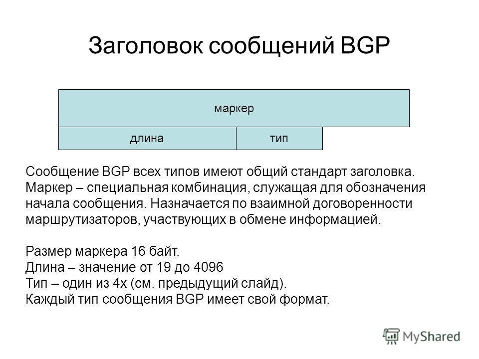 Заголовок сообщений BGP маркер длинатип Сообщение BGP всех типов имеют общий стандарт заголовка. Маркер – специальная комбинация, служащая для обозначения начала сообщения. Назначается по взаимной договоренности маршрутизаторов, участвующих в обмене