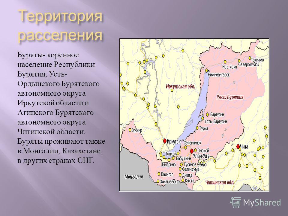 Территория расселения Буряты - коренное население Республики Бурятия, Усть - Ордынского Бурятского автономного округа Иркутской области и Агинского Бурятского автономного округа Читинской области. Буряты проживают также в Монголии, Казахстане, в друг