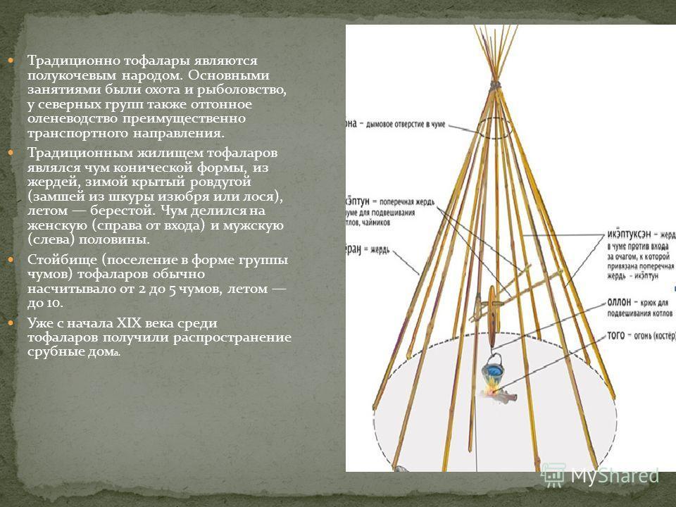 Традиционно тофалары являются полукочевым народом. Основными занятиями были охота и рыболовство, у северных групп также отгонное оленеводство преимущественно транспортного направления. Традиционным жилищем тофаларов являлся чум конической формы, из ж