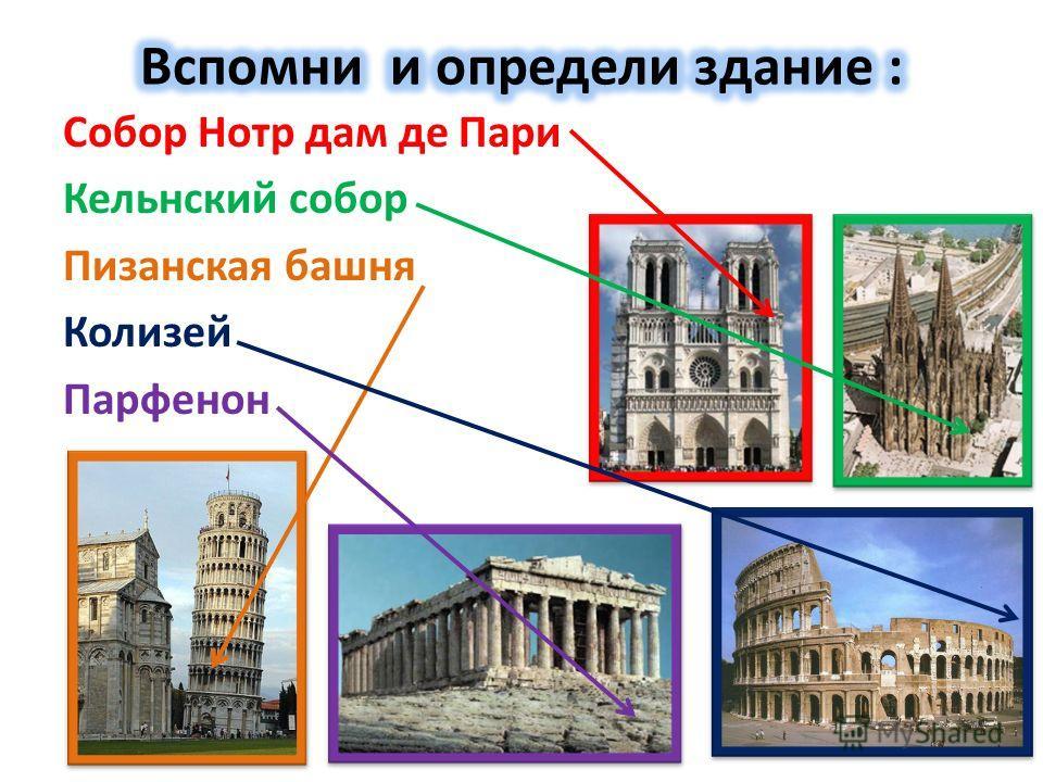 Собор Нотр дам де Пари Кельнский собор Пизанская башня Колизей Парфенон