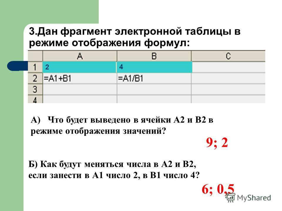 3.Дан фрагмент электронной таблицы в режиме отображения формул: А) Что будет выведено в ячейки A2 и B2 в режиме отображения значений? Б) Как будут меняться числа в А2 и В2, если занести в А1 число 2, в В1 число 4? 9; 2 6; 0,5 2 4