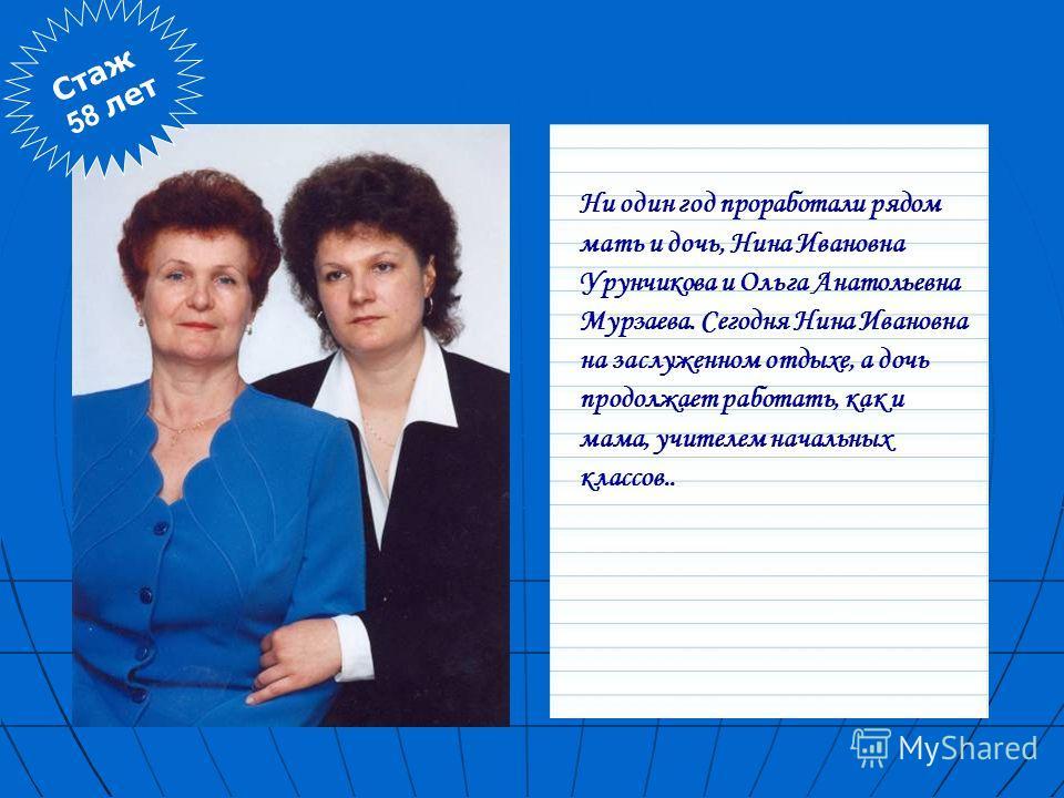 Стаж 58 лет Ни один год проработали рядом мать и дочь, Нина Ивановна Урунчикова и Ольга Анатольевна Мурзаева. Сегодня Нина Ивановна на заслуженном отдыхе, а дочь продолжает работать, как и мама, учителем начальных классов. Ни один год проработали ряд