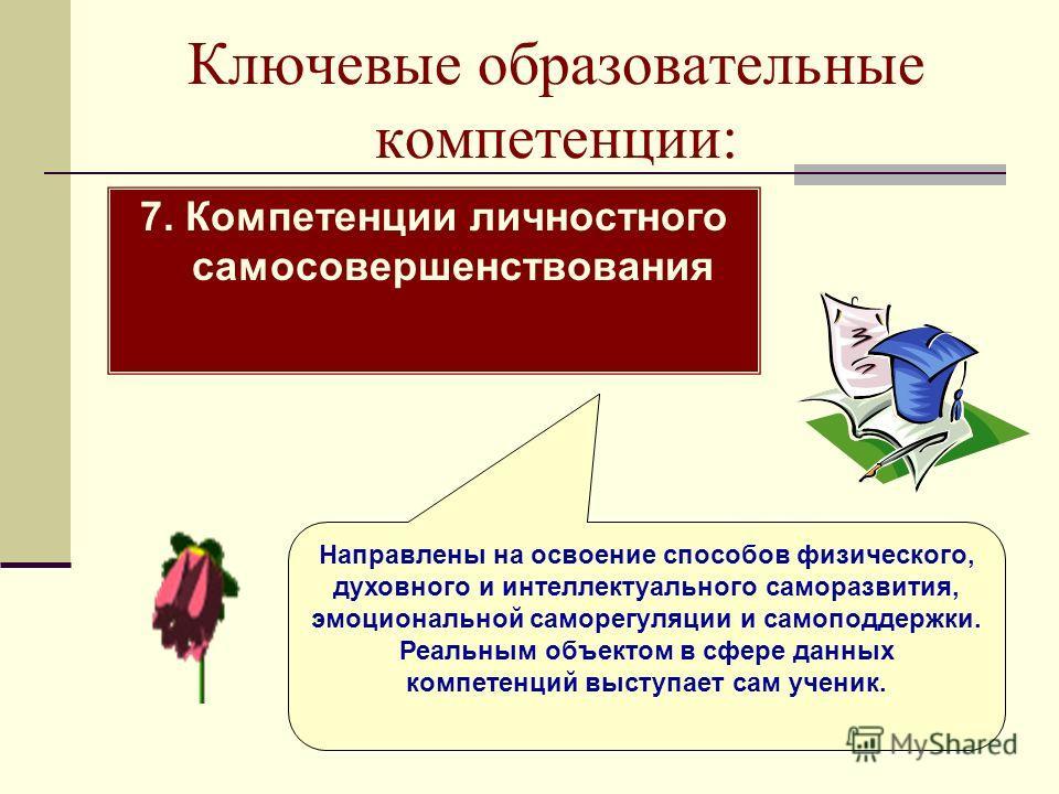 Ключевые образовательные компетенции: 7. Компетенции личностного самосовершенствования Направлены на освоение способов физического, духовного и интеллектуального саморазвития, эмоциональной саморегуляции и самоподдержки. Реальным объектом в сфере дан