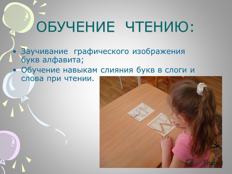 ОБУЧЕНИЕ ЧТЕНИЮ: Заучивание графического изображения букв алфавита; Обучение навыкам слияния букв в слоги и слова при чтении.