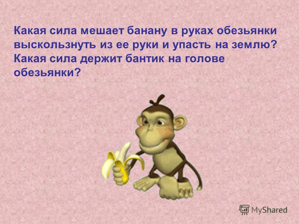 Какая сила мешает банану в руках обезьянки выскользнуть из ее руки и упасть на землю? Какая сила держит бантик на голове обезьянки?