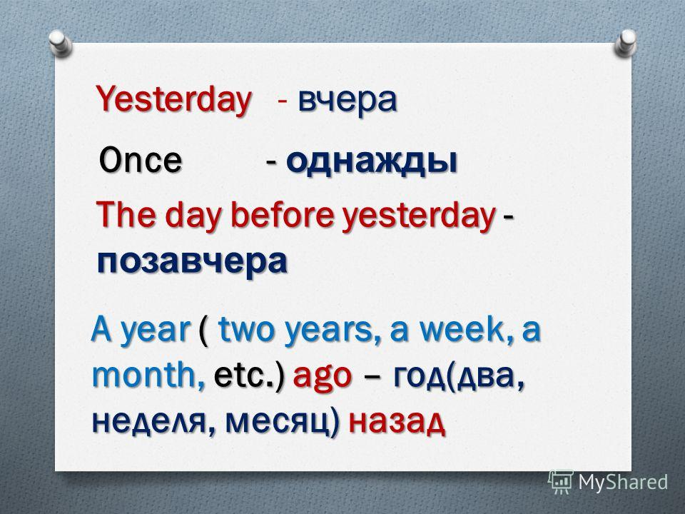 Yesterday вчера Yesterday - вчера Once - однажды The day before yesterday - позавчера A year ( two years, a week, a month, etc.) ago – год ( два, неделя, месяц ) назад