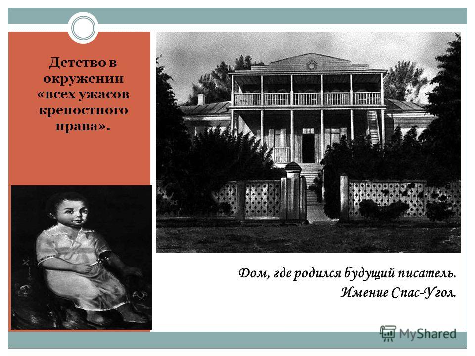 Дом, где родился будущий писатель. Имение Спас-Угол. Детство в окружении «всех ужасов крепостного права».