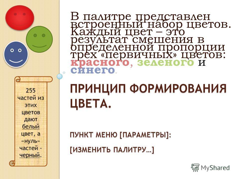 ПРИНЦИП ФОРМИРОВАНИЯ ЦВЕТА. ПУНКТ МЕНЮ [ПАРАМЕТРЫ]: [ИЗМЕНИТЬ ПАЛИТРУ…] В палитре представлен встроенный набор цветов. Каждый цвет – это результат смешения в определенной пропорции трех «первичных» цветов: красного, зеленого и синего.