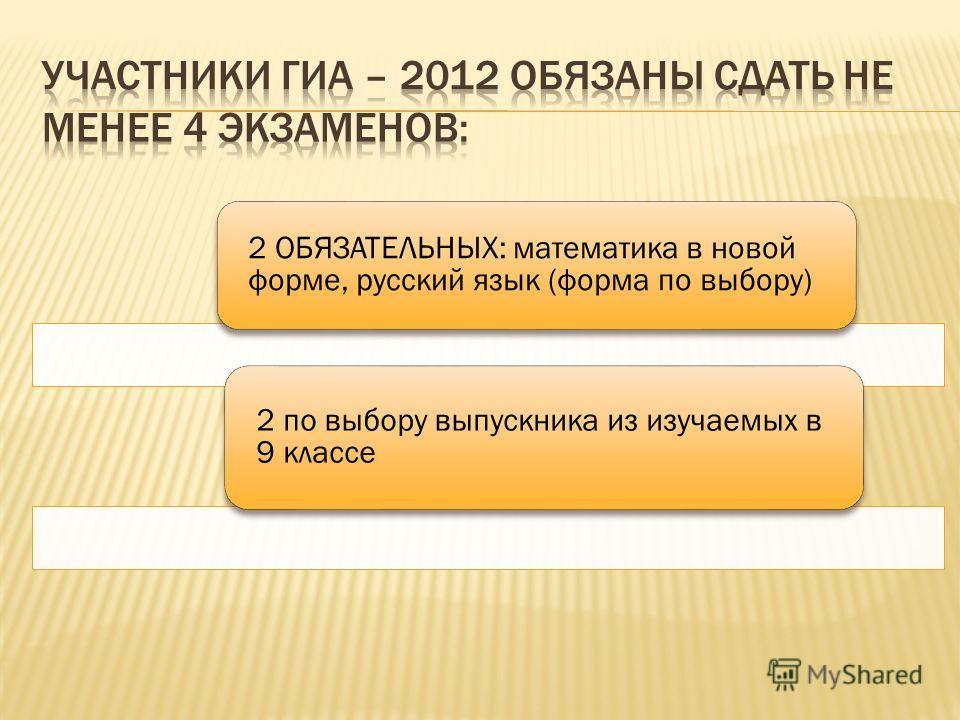 2 ОБЯЗАТЕЛЬНЫХ: математика в новой форме, русский язык (форма по выбору) 2 по выбору выпускника из изучаемых в 9 классе