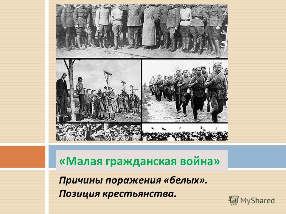 Причины поражения « белых ». Позиция крестьянства. « Малая гражданская война »