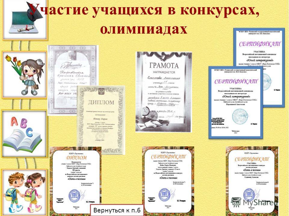 Участие учащихся в конкурсах, олимпиадах Вернуться к п.6