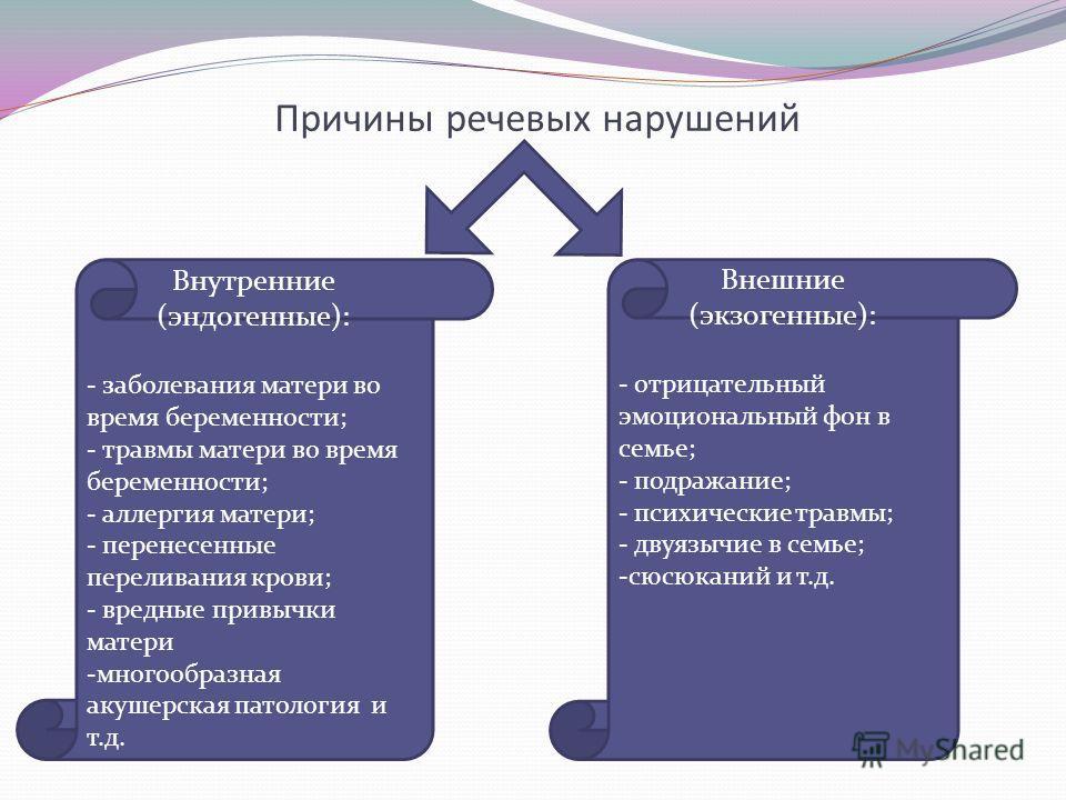 Причины речевых нарушений Внешние (экзогенные): - отрицательный эмоциональный фон в семье; - подражание; - психические травмы; - двуязычие в семье; -сюсюканий и т.д. Внутренние (эндогенные): - заболевания матери во время беременности; - травмы матери