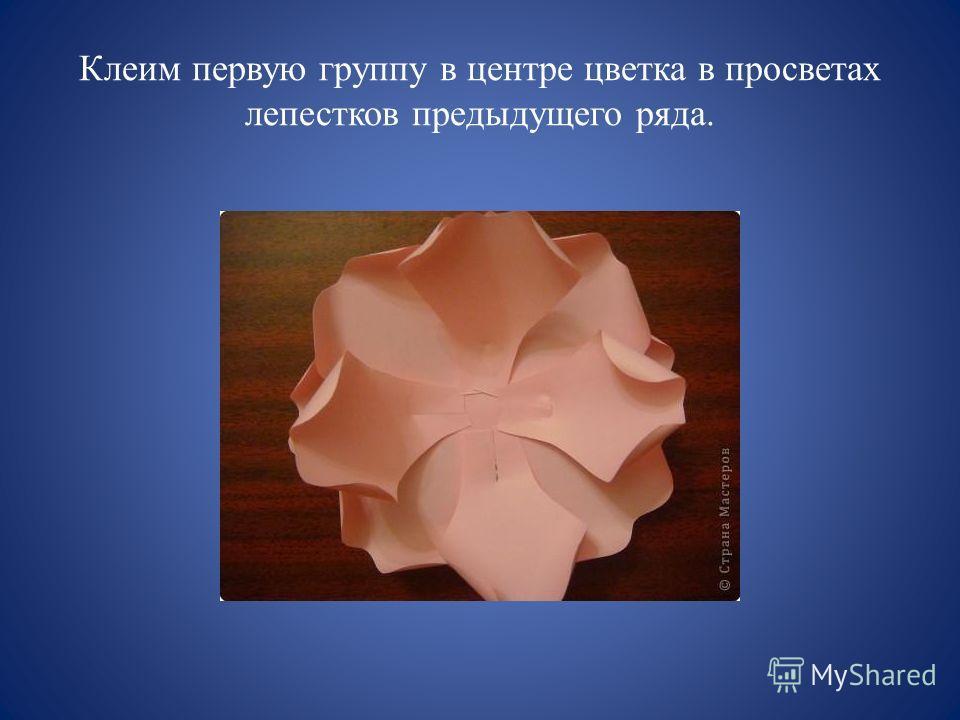 Клеим первую группу в центре цветка в просветах лепестков предыдущего ряда.