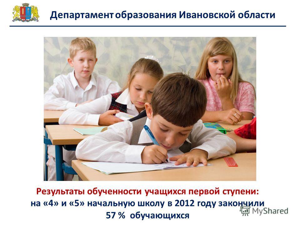 Департамент образования Ивановской области Результаты обученности учащихся первой ступени: на «4» и «5» начальную школу в 2012 году закончили 57 % обучающихся