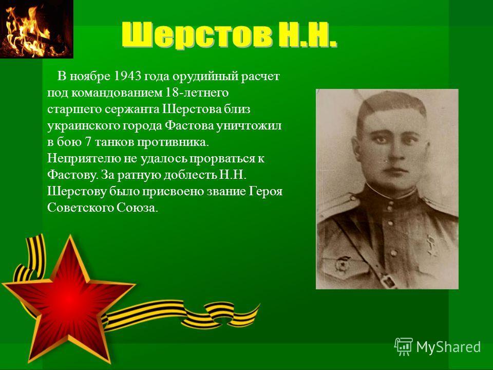 В ноябре 1943 года орудийный расчет под командованием 18-летнего старшего сержанта Шерстова близ украинского города Фастова уничтожил в бою 7 танков противника. Неприятелю не удалось прорваться к Фастову. За ратную доблесть Н.Н. Шерстову было присвое