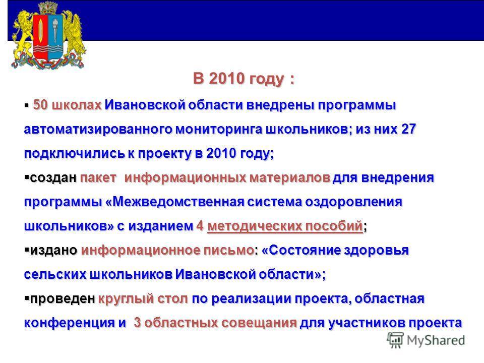 В 2010 году: В 2010 году : 50 школах Ивановской области внедрены программы автоматизированного мониторинга школьников; из них 27 подключились к проекту в 2010 году; 50 школах Ивановской области внедрены программы автоматизированного мониторинга школь