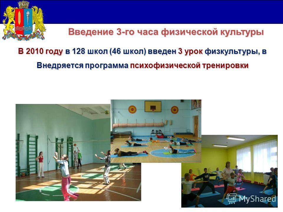 В 2010 году в 128 школ (46 школ) введен 3 урок физкультуры, в Внедряется программа психофизической тренировки Введение 3-го часа физической культуры