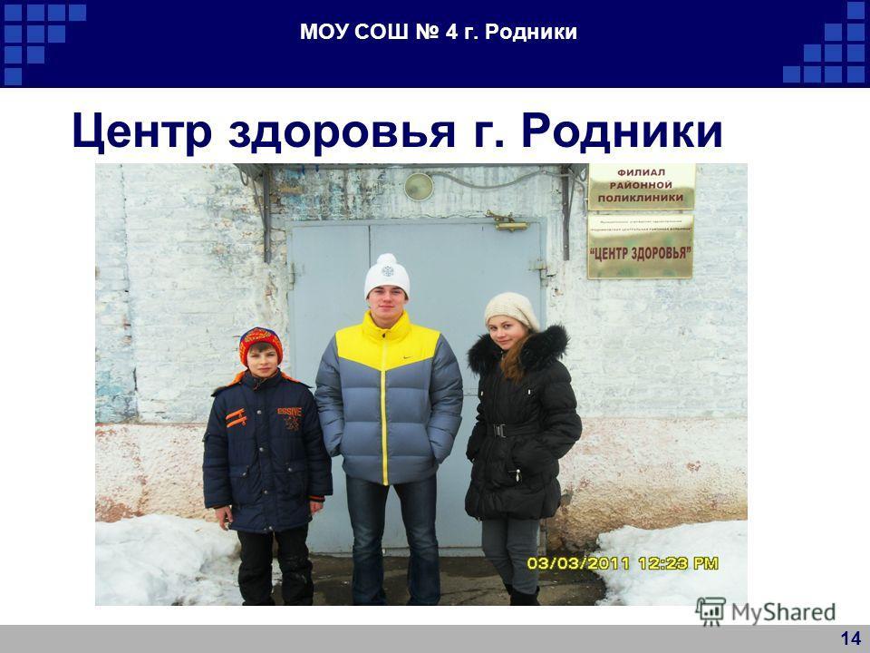 МОУ СОШ 4 г. Родники Центр здоровья г. Родники 14