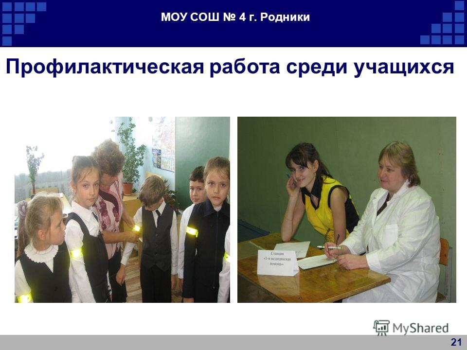 МОУ СОШ 4 г. Родники Профилактическая работа среди учащихся 21