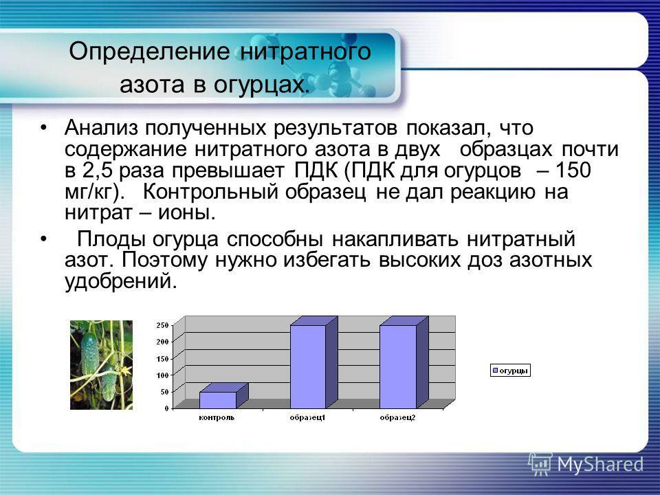 Определение нитратного азота в огурцах. Анализ полученных результатов показал, что содержание нитратного азота в двух образцах почти в 2,5 раза превышает ПДК (ПДК для огурцов – 150 мг/кг). Контрольный образец не дал реакцию на нитрат – ионы. Плоды ог