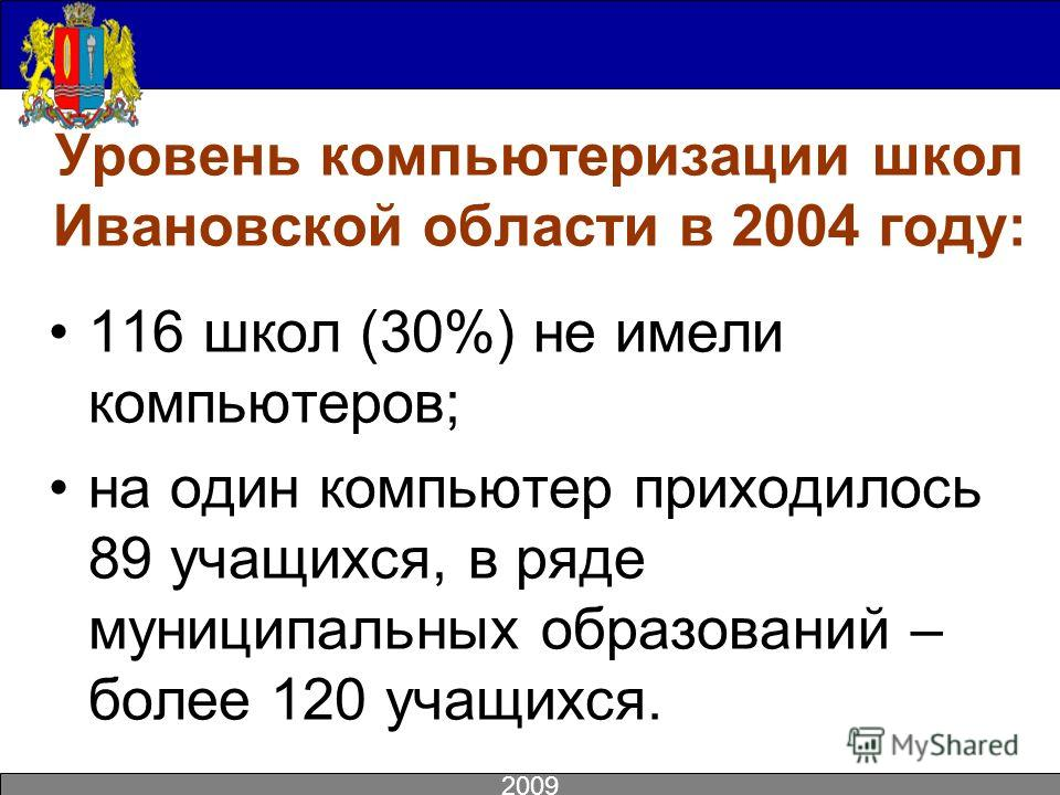 Уровень компьютеризации школ Ивановской области в 2004 году: 116 школ (30%) не имели компьютеров; на один компьютер приходилось 89 учащихся, в ряде муниципальных образований – более 120 учащихся. 2009