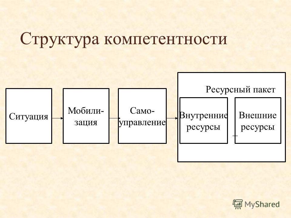 Структура компетентности Ситуация Мобили- зация Само- управление Внешние ресурсы Внутренние ресурсы Ресурсный пакет +