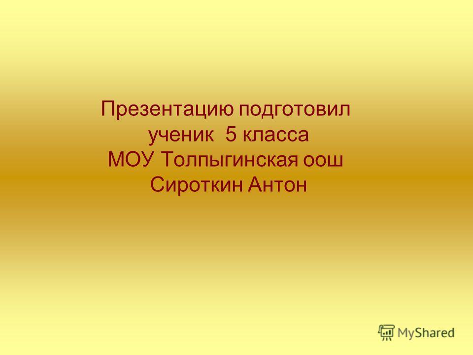 Презентацию подготовил ученик 5 класса МОУ Толпыгинская оош Сироткин Антон