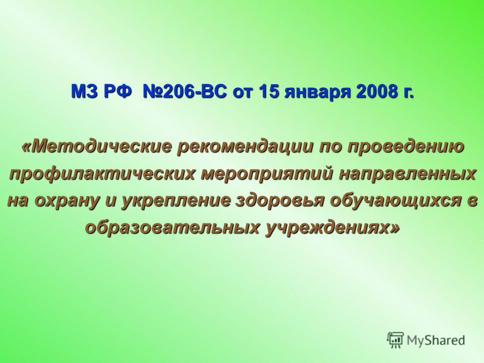 МЗ РФ 206-ВС от 15 января 2008 г. «Методические рекомендации по проведению профилактических мероприятий направленных на охрану и укрепление здоровья обучающихся в образовательных учреждениях»