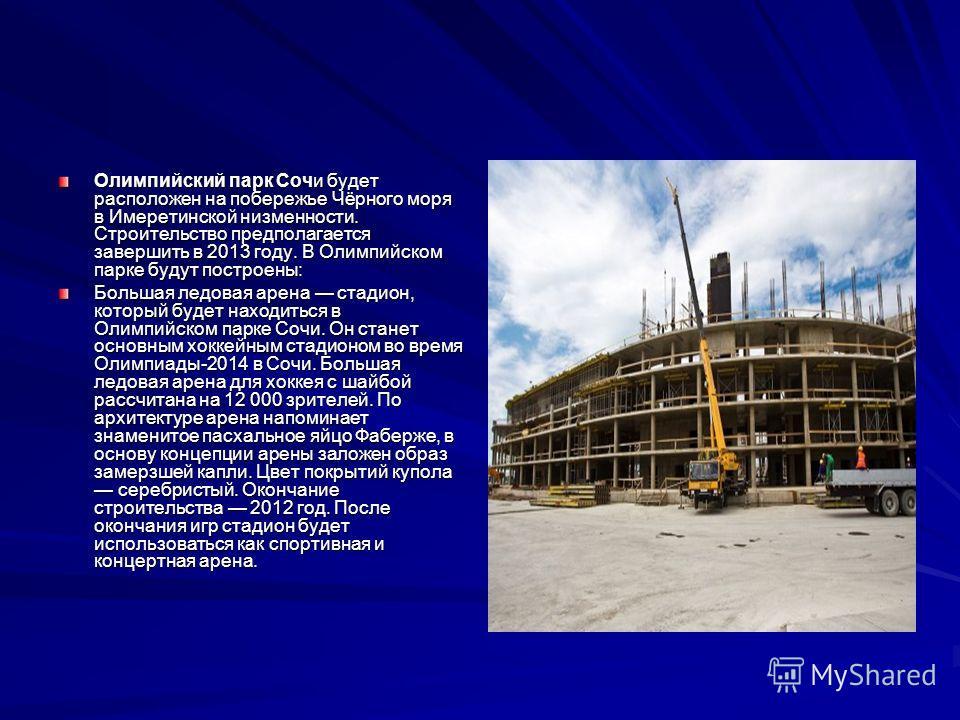 Олимпийский парк Сочи будет расположен на побережье Чёрного моря в Имеретинской низменности. Строительство предполагается завершить в 2013 году. В Олимпийском парке будут построены: Большая ледовая арена стадион, который будет находиться в Олимпийско