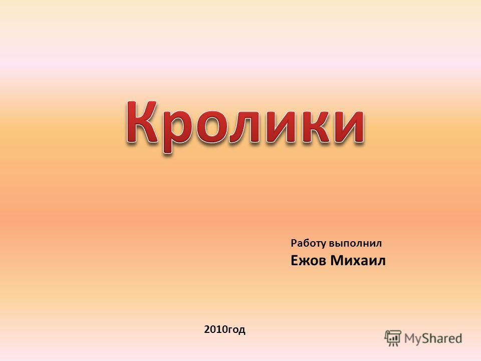 Работу выполнил Ежов Михаил 2010год