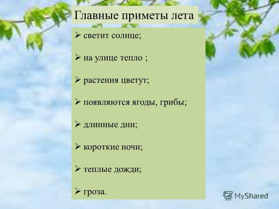 светит солнце; на улице тепло ; растения цветут; появляются ягоды, грибы; длинные дни; короткие ночи; теплые дожди; гроза. Главные приметы лета