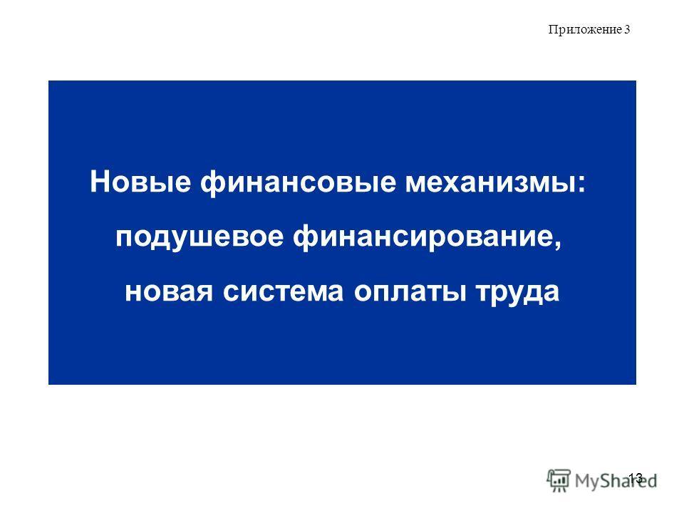 13 Приложение 3 Новые финансовые механизмы: подушевое финансирование, новая система оплаты труда
