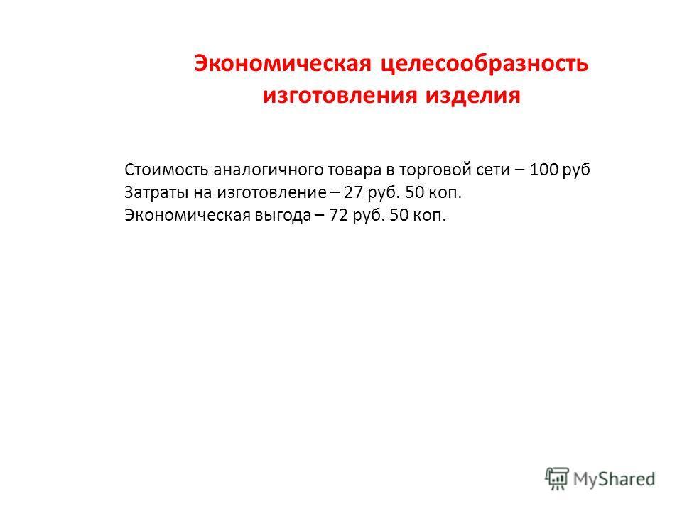 Экономическая целесообразность изготовления изделия Стоимость аналогичного товара в торговой сети – 100 руб Затраты на изготовление – 27 руб. 50 коп. Экономическая выгода – 72 руб. 50 коп.