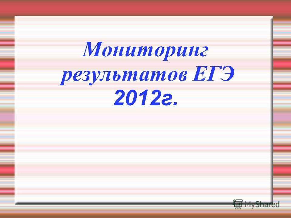 Мониторинг результатов ЕГЭ 2012г.